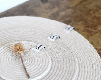 Handmade round placemats, rope coasters, small, medium and large cotton layering mats, coiled rope trivet, hot mat for tablescape
