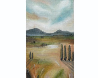 Original landscape painting, small oil painting on canvas sheet, by New Zealand artist Mel McKenzie