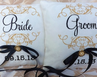 Brida and Groom ring bearer pillow embroidery custom personalized ring bearer pillows wedding pillow ring pillow monogram Mr and Mrs