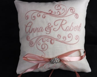 Ring Bearer Pillow, Bride & Groom Ring Pillow, wedding pillow, embroidery, monogram, custom. personalized, ring bearer pillows