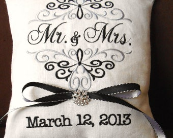 Mr. & Mrs. Personalized Embroidery Ring Bearer Pillow