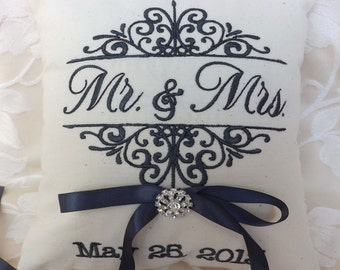 Ring bearer pillow, Mr. and Mrs., ring bearer pillows, ring pillow, embroidery, monogram, custom, personalized, wedding pillow (RB102)
