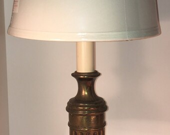 9e708b5f70d5 Vintage Mid Century Bronze Patina Column Bankers Desk Library Table Student Lamp  Marble Base