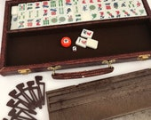 Mah Jong Mah-Jongg Mahjong Maj Jong Game Travel Carry Case Bakelite Carved Tiles Family Game Night