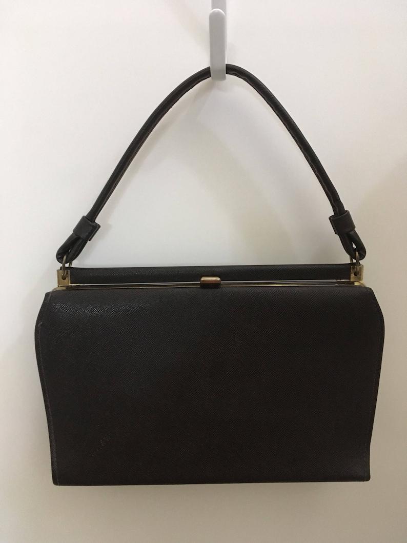 45096e592391e Vintage Dark Brown Kelly Handbag Top Handle Mad Men Style