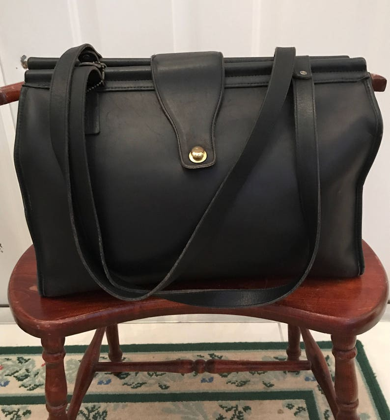 b5ec65c0c961 Vintage Coach Black Briefcase Lap Top Shopper Tote Handbag USA