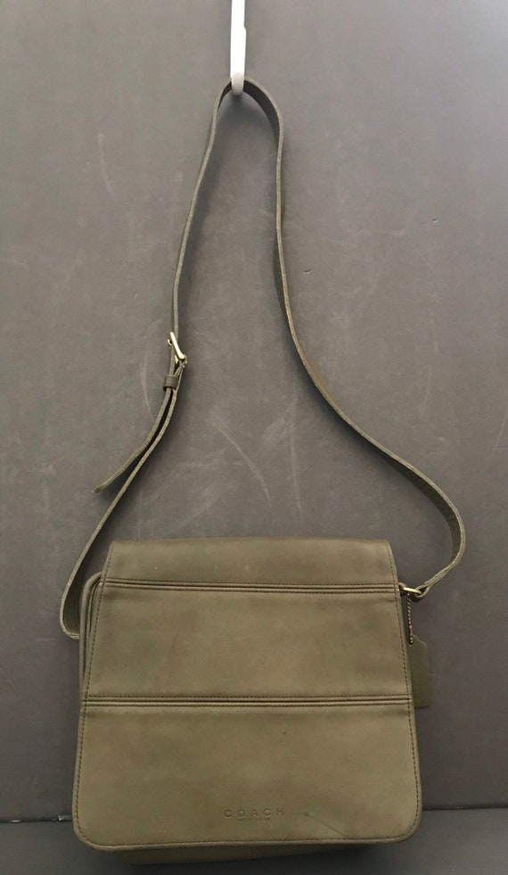 1d03a6ba2fc3 Vintage Coach Tribeca Sage Green Leather Handbag Crossbody Bag Made in USA  9092