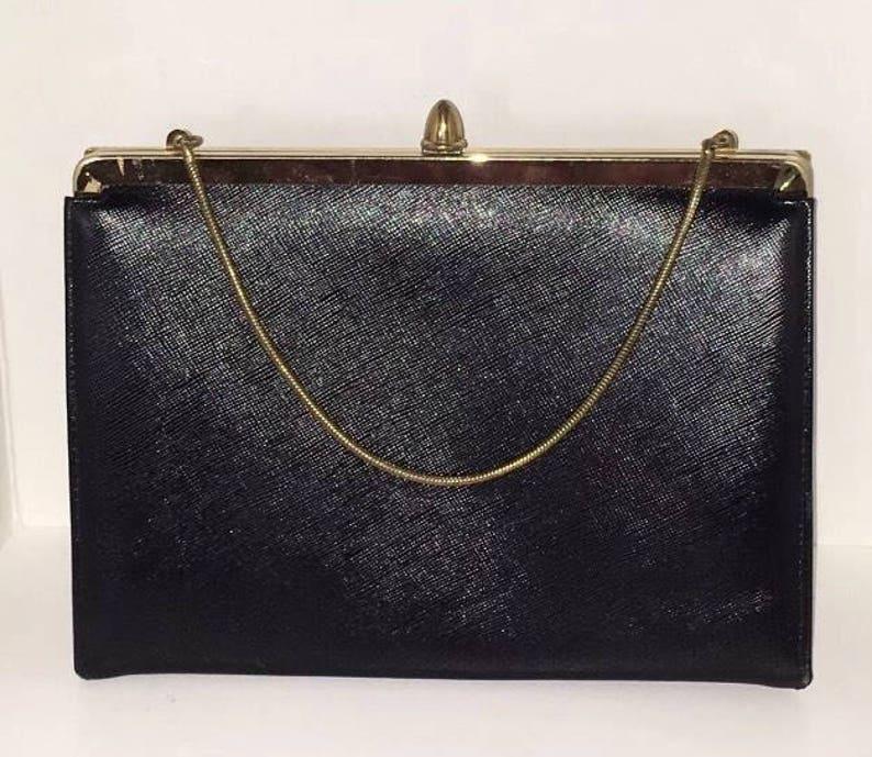 536b9ed142df5 Vintage ETRA Black Leather Clutch Purse Convertible Handbag Gold Chain Mad  Men 1960s