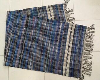 "Handmade Amish Blue Black Multi Color Rag Rug Runner with Fringe 67"" x 24"""