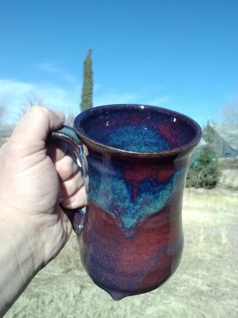 Amethyst red/blue ceramic tankard 20-24oz image 0