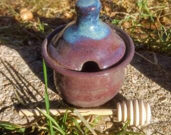 Honey pot/sugar bowl. amethyst purple/red