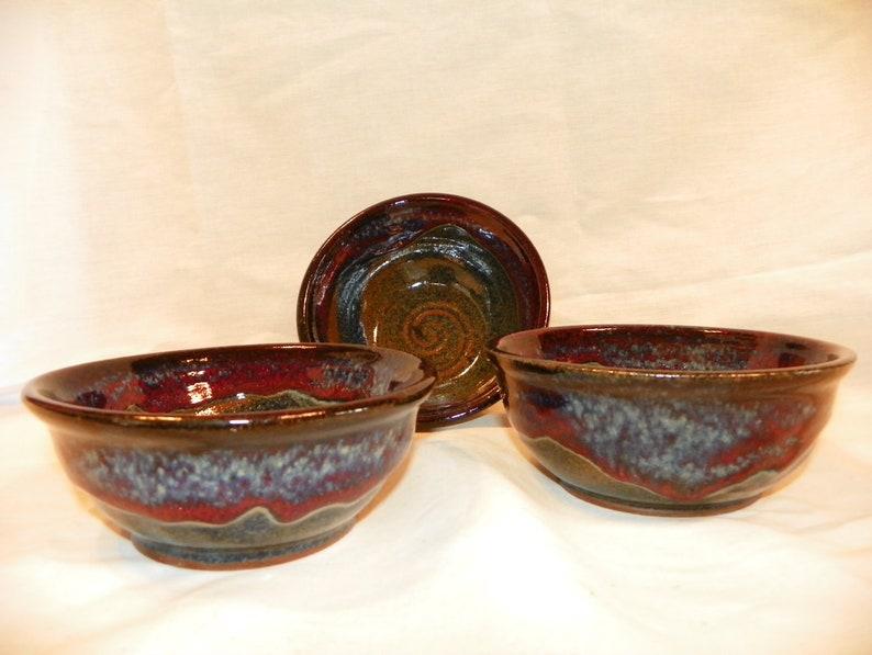 Ceramic azurite blue bowls image 0