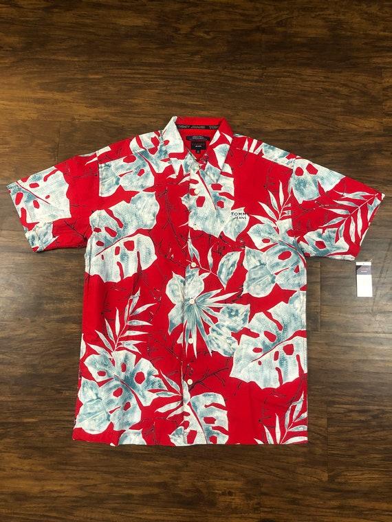 VNTG 90s Tommy Jeans Hawaiian Shirt Button Up Red Mens Size Medium Hilfiger NEW