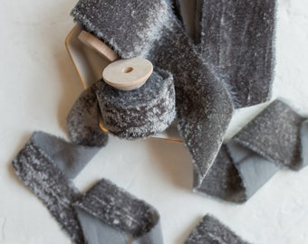 Slate Grey Velvet Ribbon; 100% Silk; Bridal Bouquet, invitations, Wedding; hand dyed; hand ripped; wedding photography styling; Charcoal