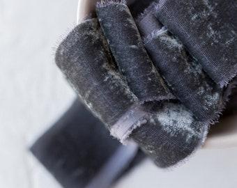 Steel Grey Silk Velvet Ribbon; invitations; gender reveal; hand dyed; hand ripped; wedding photography styling; black gray; slate grey; gray