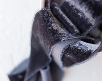 Dark Charcoal Silk Velvet Ribbon; invitations; gender reveal; hand dyed; hand ripped; wedding photography styling; black gray; slate grey