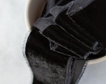 Midnight Black Silk Velvet Ribbon; Bridal Bouquet, invitations, Wedding; hand dyed; hand ripped wedding photography styling; true black coal