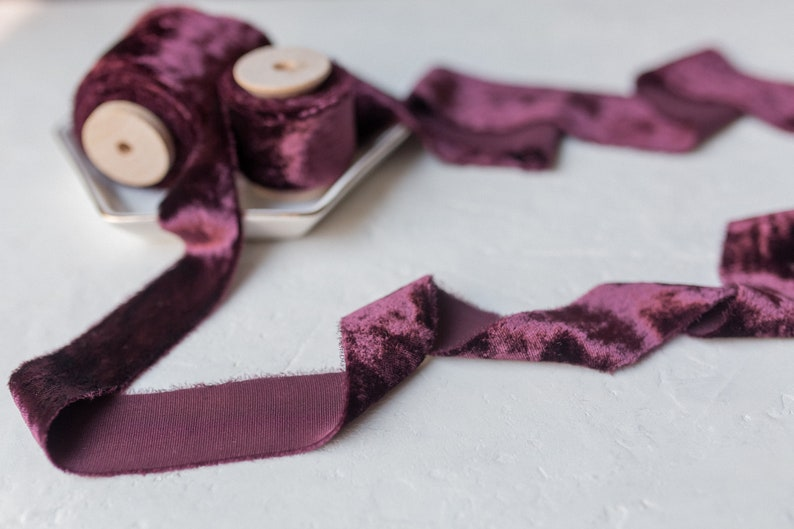 favors; hand dyed; hand ripped; wedding photography styling Eggplant Aubergine Silk Velvet Ribbon; Bridal Bouquet invitations