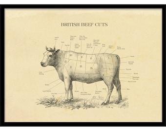 Silk Poster Retail Beef Cuts Vintage Butcher Animal Chart Steaks B-415