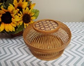 Marquetry Inlay Wood Box Lidded Basket Woven Decor Asian Minimalist Wood Spindles