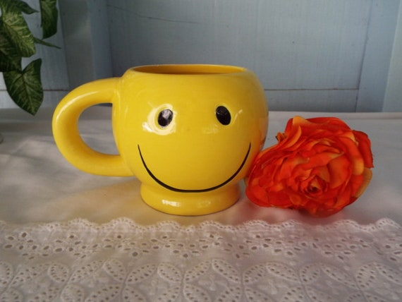 70s Happy Face Mug Smiley Face Vase Candy Dish Graduation Etsy