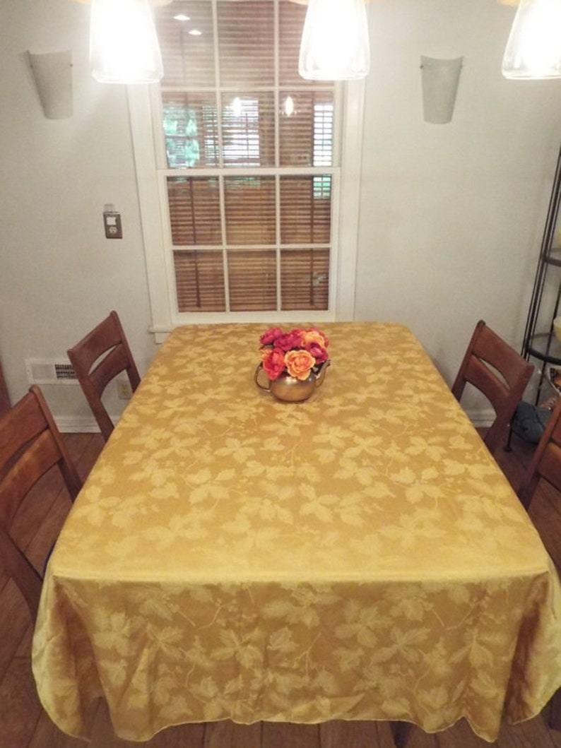 Large 58 x 116 Gold Poinsettia Pine Tablecloth Damask Yellow Christmas Holiday Table