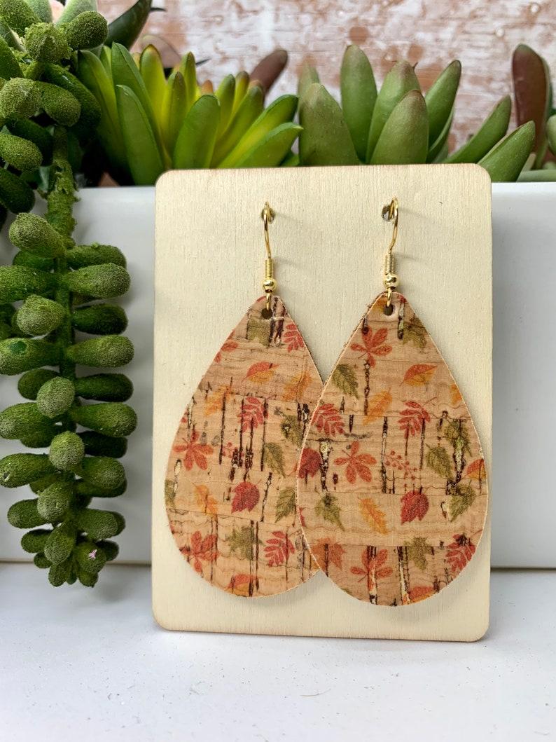 leaf teardrop earrings cork teardrop CLEARANCE Fall Cork Earrings leather teardrop leaves leather earrings ,fall leaves earrings