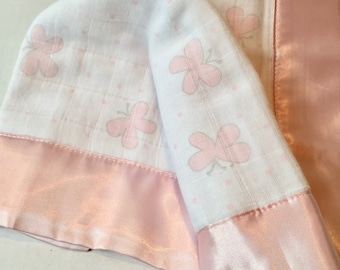 Satin Trim Baby Prayer Birth Announcement Security Blanket Personalize Baby Lovey Get Well Soon Muslin Blankie First Tooth Baptism