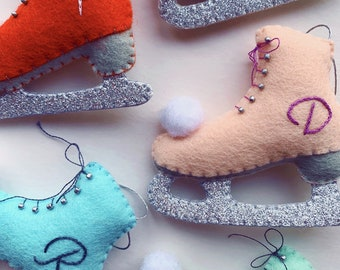 Handmade Embroidered Ice Skate Christmas Tree Ornament - With personalised embroidery