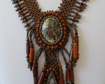 Two Corpolite Stones set with Red Jasper Tube and Heishi Beads, Netted Stitch and Beaded Embroidery Necklace