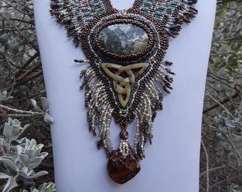 SALE, Ancient Ancestors, Preseli Blue Stone, Stonehendge Blue Stone, Hand Carved Jasper Eternal Knot, Original Fern Design, Amber Nugget