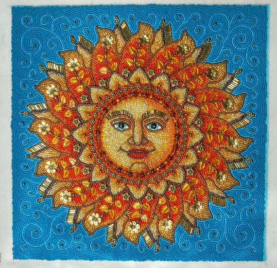 Sun Face Beaded Embroidery Picture Beaded Wall Art | Etsy