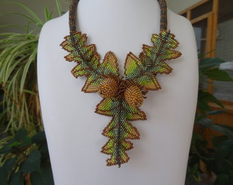 Acorns and Oak Leaves, Bead Woven Necklace