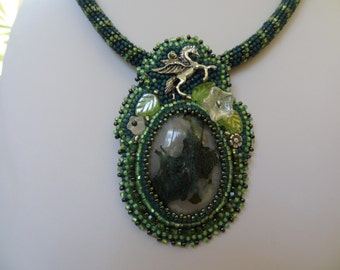 Pegasus and Deep Green Moss Agate Beaded Embroidery Necklace