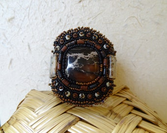 Impression Stone, Dendritic Jasper, Red Jasper and Leopard Skin Jasper, Beaded Embroidery Bracelet