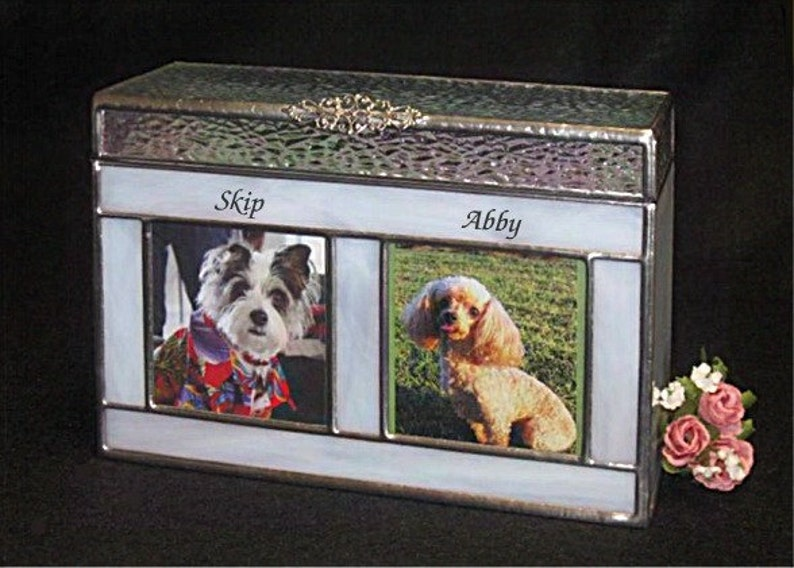 for two pets Small  #6A Companion Pet Cremation Urn 2 photo windows in Stained Glass Pet Urn