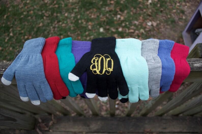 Monogram Gloves  Texting Gloves  Touchscreen Friendly image 0
