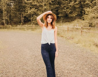 Paisley Lace Pants in Navy