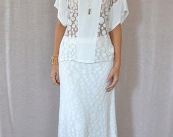 SALE Polka Maxi Skirt in Ivory