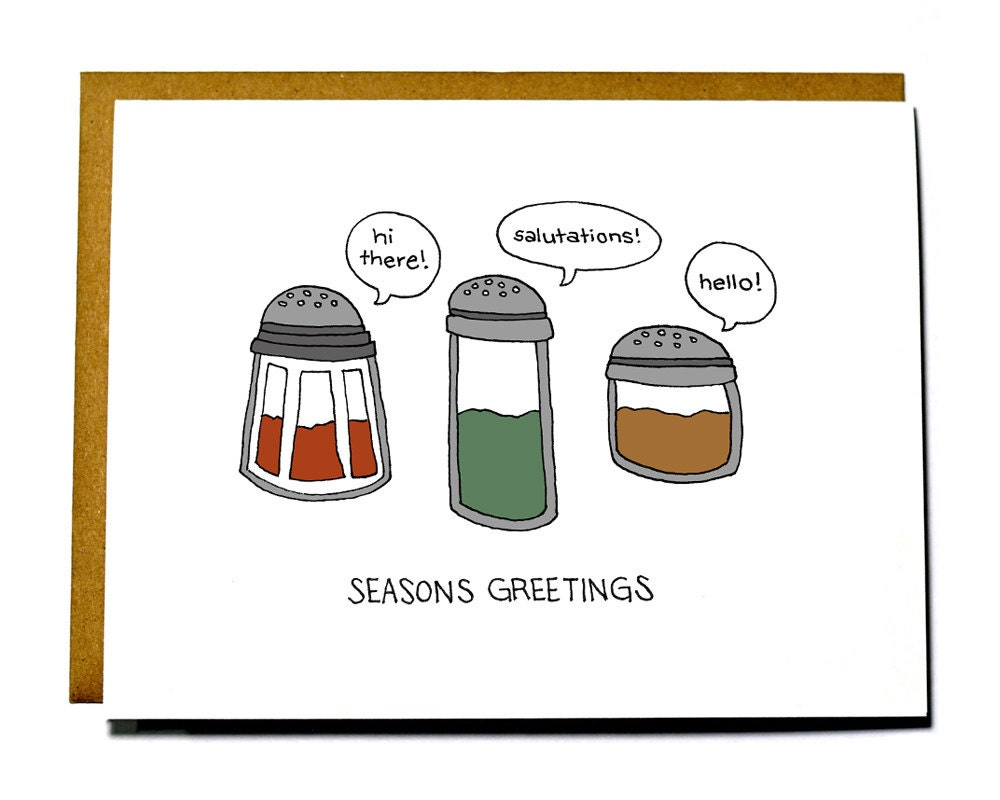 Funny Christmas Card Pun Seasons Greetings Etsy