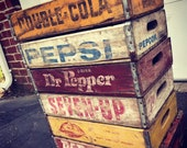 6 Vintage Faded Weathered Pepsi, Dr Pepper, Nesbitts, Pep Up Double Cola Soda Crates Lot Mixed Variety