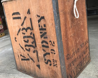 Vintage 1973 Sydney Shipping Cargo Wood Crate Case