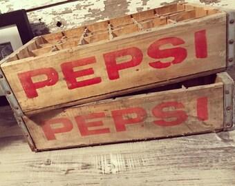 2 Vintage 1970's Pepsi Cola Wood Soda Crate Case 24 Dividers Columbus Ohio