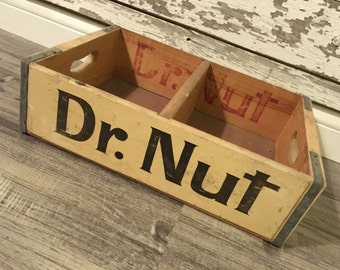 Vintage Very Rare Dr. Nut Wood Soda Pop Crate Case Near Mint Shape NOS