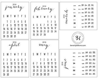 2018, calendar cards, stationery, scrapbooking, Journaling cards, pocket cards,