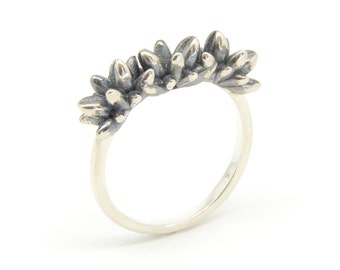 Silver Flower Bud Ring - Oxidised Botany Ring - Contemporary Statement Ring - Women's Silver Ring - Sterling Silver