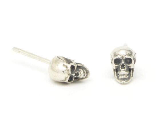 f6dfc689c Silver Skull Earrings Skull Studs Tiny Skull Earrings Skull | Etsy