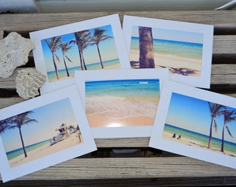 Notecards - Paradise Collection Set of 5 Cards - Ocean Beach Palm Trees Seaside Vacation Tropical Greeting Card Stationary 5x7 Blank Inside