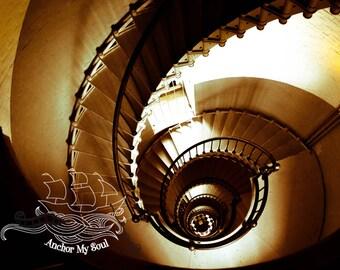 Print Spiral Dream - Digital - Photo Mat - Lighthouse Stairs - Seashell - Nautical - Salt Life - Sepia