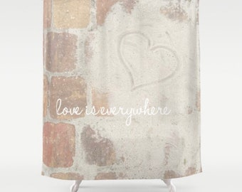Shower Curtain - Beach Love is Everywhere Quote - Ocean - Coastal - Bathroom - Home Decor - Adventure - 71x74